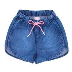 Short 4 a 10 Anos Jeans com Cordão Rosa Marmelada Azul