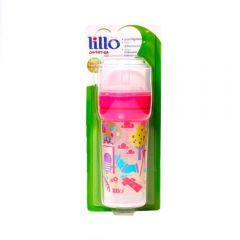 Super Mamadeira 260ml Divertida Bico Silicone Lillo - Rosa
