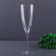 Taça de Champanhe com Filete Dourado 230ml Solecasa - Transparente