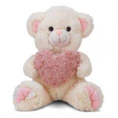 Urso De Pelúcia Encanto Baunilha Com Coração Peludo 39 Cm Cortex - 0268