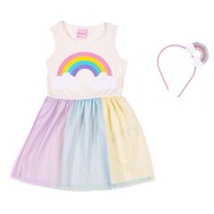 Vestido 1 a 3 Anos Arco Iris com Tule + Tiara Yoyo Kids Perola