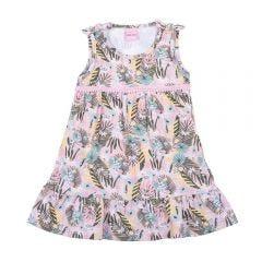 Vestido 1 a 3 Anos Cotton Folhagem com Laços Yoyo Kids Estampado