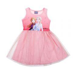 Vestido 1 a 3 Anos Frozen com Tule Disney Rosa Quartzo