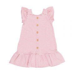 Vestido 1 a 3 Anos Listrado com Botões Marmelada Rosa